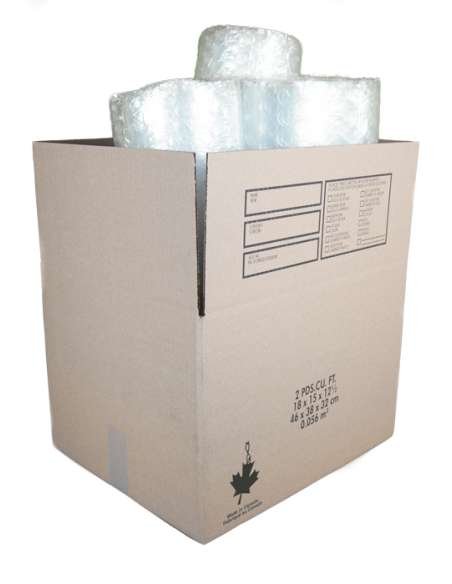 2 Cubic Feet - Open Small Moving Box and Large Bubble Wrap