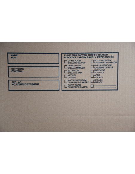 6 Cubic Feet - Large Moving Box with a print - Room Description