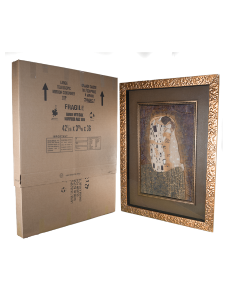 Assembled and Closed Large Telescopic Picture and Mirror Box Standing Next to A Large Painting