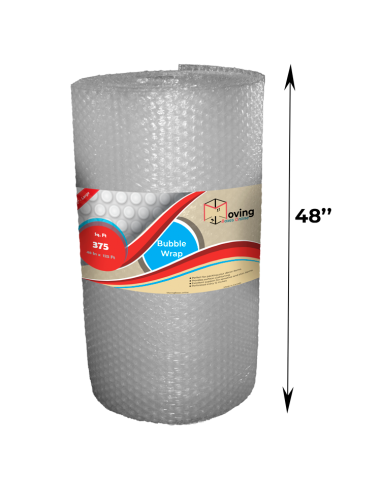 """1/2"""" Large Bubble Wrap 48 inch height x 125 ft length (Front with Label)"""