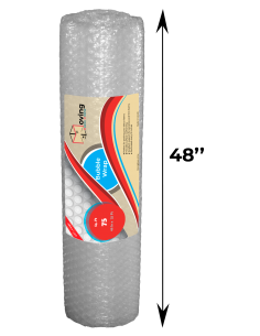 """1/2"""" Large Bubble Wrap 48 Inch Height x 25 feet Length (Front with label and Measurements)"""